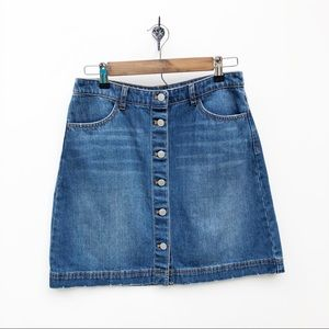 H&M Button Down A-Line Denim Skirt size 10